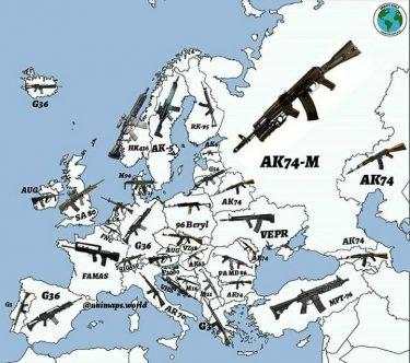 ヨーロッパ各国の軍の主力装備ライフルが分かるガンマップ
