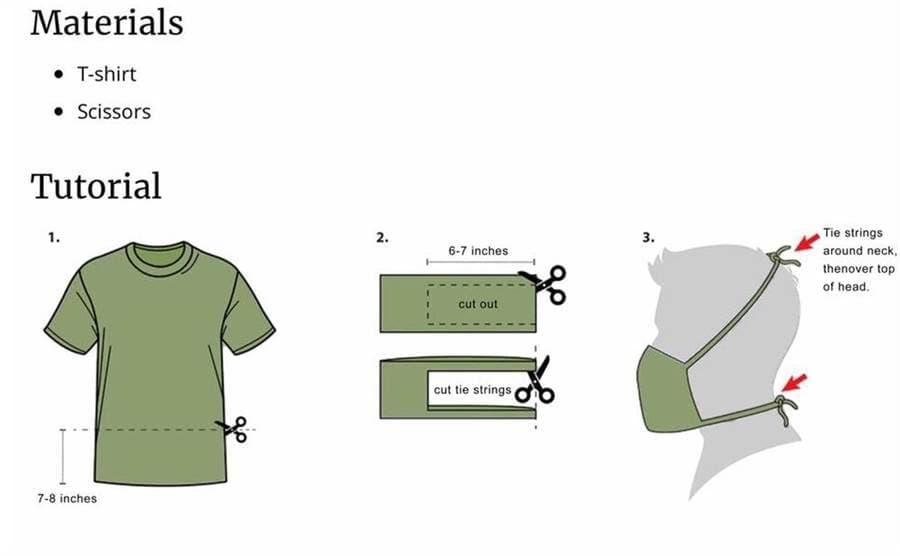 米軍のTシャツを利用した縫製の要らないマスクの作り方