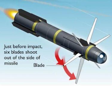 爆発せずに切り刻む忍者ミサイル、ヘルファイアR9X