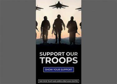 トランプは大統領選挙の広告にロシアの戦闘機を載せて「軍を支援せよ」と訴えた