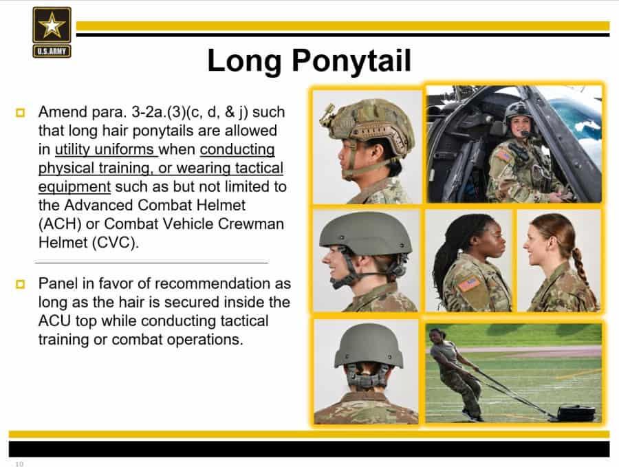 米陸軍は女性兵士のイヤリングと長いポニーテールを許可します